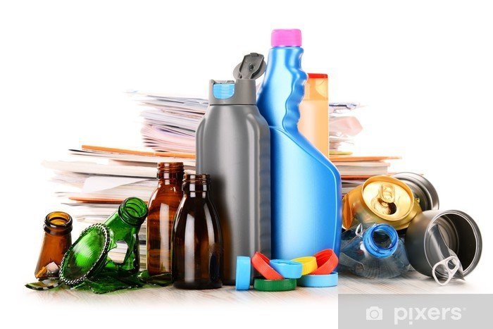 Recyclable garbage consisting of glass, plastic, metal and paper Vinyl Wall Mural - Ecology