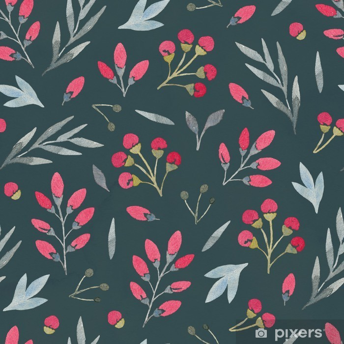 Watercolor seamless floral pattern Pixerstick Sticker - Flowers and plants