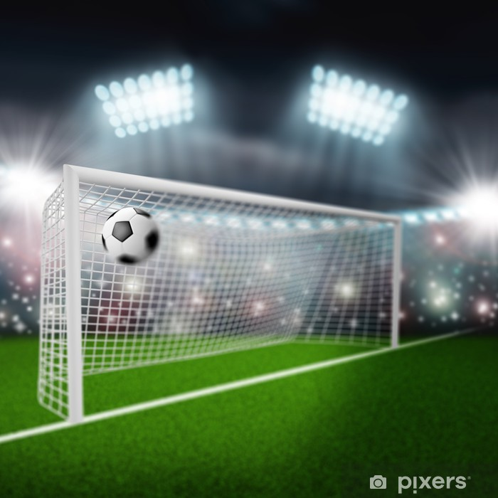 soccer ball flies into the goal Poster - Sports Items