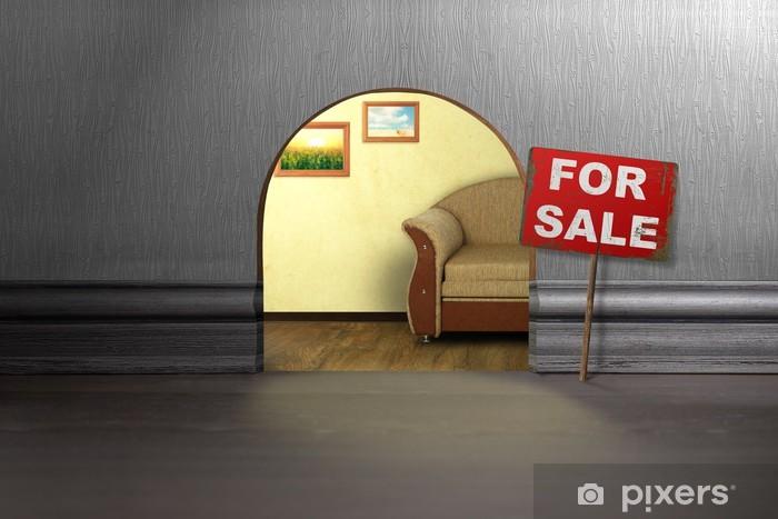 aufkleber maus loch in der wand mit zeichen zu verkaufen. Black Bedroom Furniture Sets. Home Design Ideas