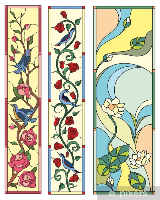 Świeże Naklejka Witraż kwiaty ptaki ludowa • Pixers® - Żyjemy by zmieniać IZ65