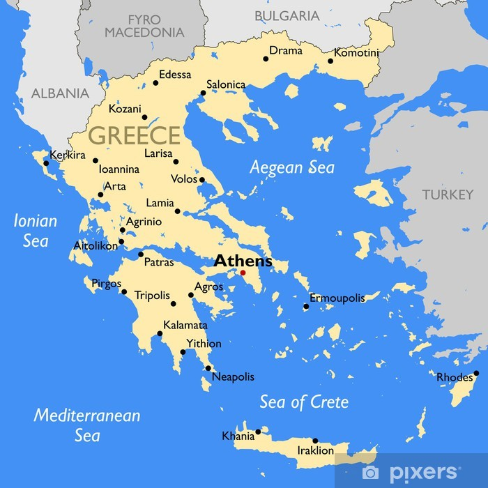 Kreikan Kartta Juliste Pixers Elamme Muutoksille