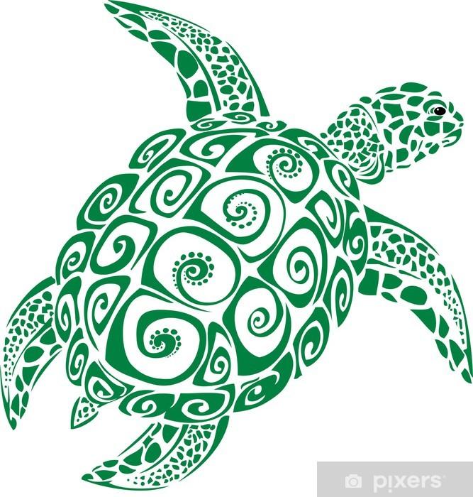 Papier peint vinyle Tortue de mer verte - Autres Autres