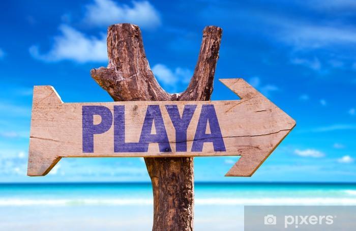 Naklejka Pixerstick Plaża (w języku hiszpańskim) drewniany znak z plaży w tle - Tła