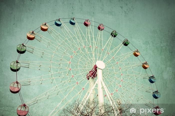 Papier peint vinyle Grande roue colorée contre, style vintage - Passe-temps et loisirs