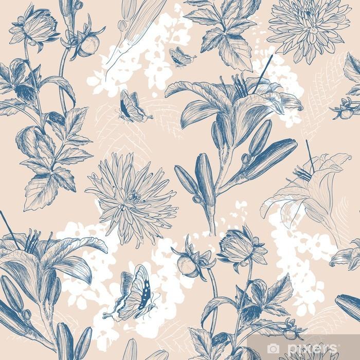 Fototapeta winylowa Retro ilustracji wektorowych kwiat - Rośliny i kwiaty