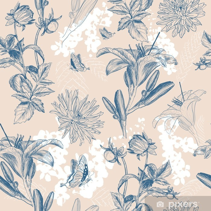 retro flower vector illustration Poster - Plants and Flowers
