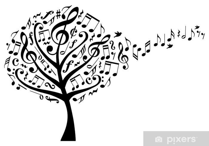 Mural de Parede em Vinil Árvore da música com notas musicais, vetor - Árvores