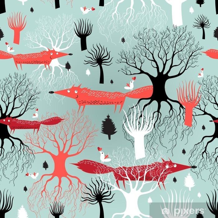 Vinyl Fotobehang Patroon bomen en vossen - Milieu