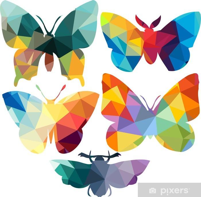 Poster en cadre Triangle silhouettes polygonales de papillon - Signes et symboles