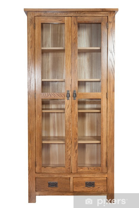 Wooden Bookcase Isolated On White Background Vinyl Wall Mural Home And Garden