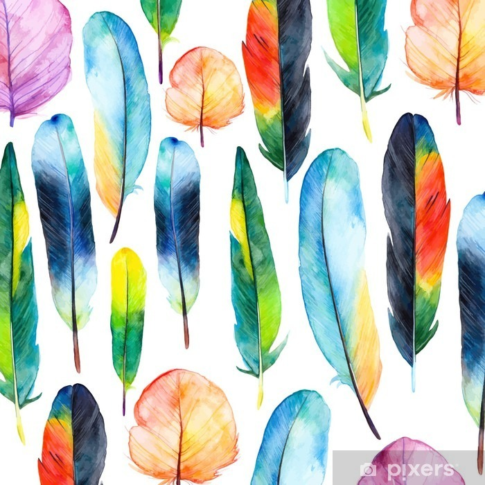 Watercolor feathers set.Pattern with hand drawn feathers Pixerstick Sticker - Hobbies and Leisure