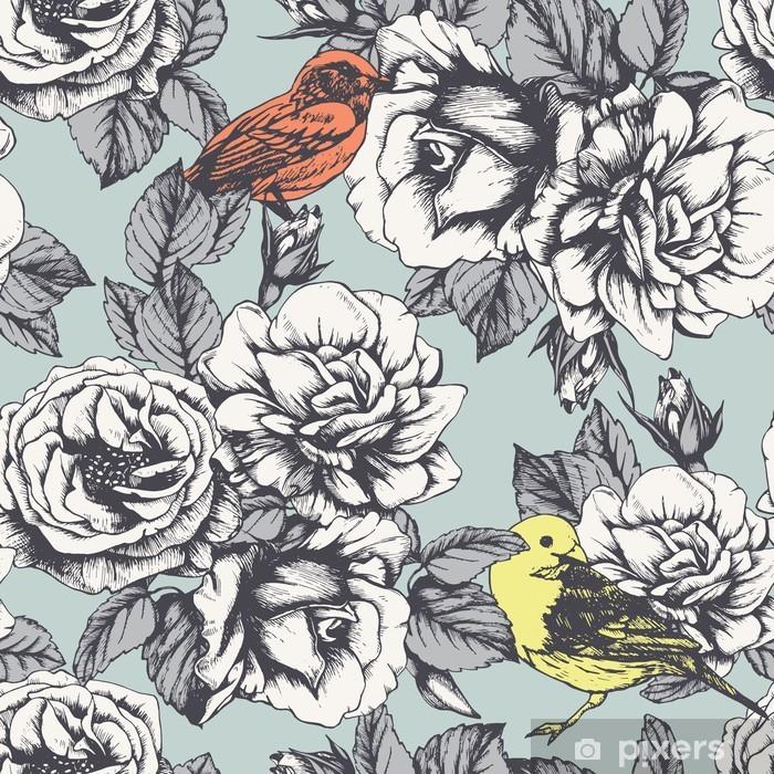 Pixerstick-klistremerke Sømløs blomstermønster med hånddrakte roser og fugler. Vector - Vitenskap & Natur