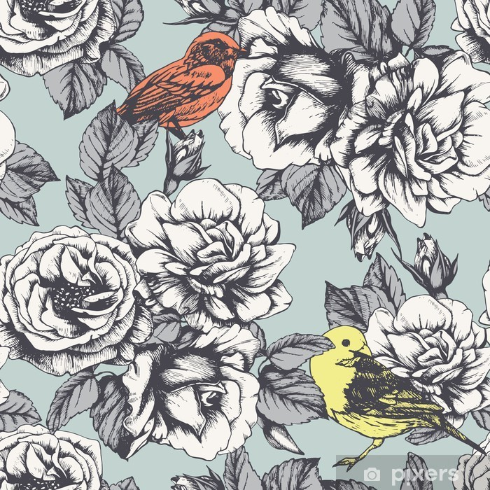 Seamless floral pattern with hand-drawn roses and birds. Vector Pixerstick Sticker - Science & Nature