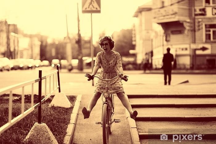 Pixerstick Sticker Vintage sepia portret van een meisje hipster concept - Mensen