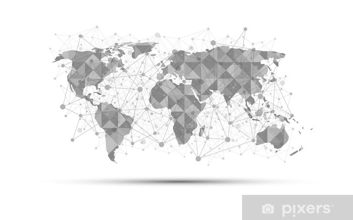 Fototapete world map science concept abstract on white background