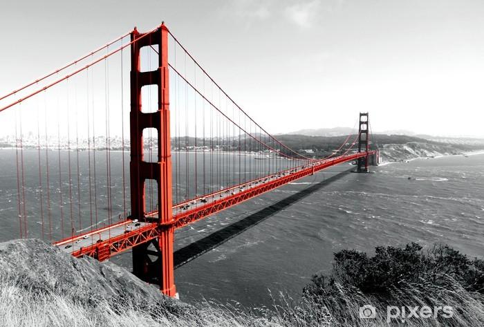 Carta da Parati in Vinile Golden Gate Bridge Red Pop su B - iStaging