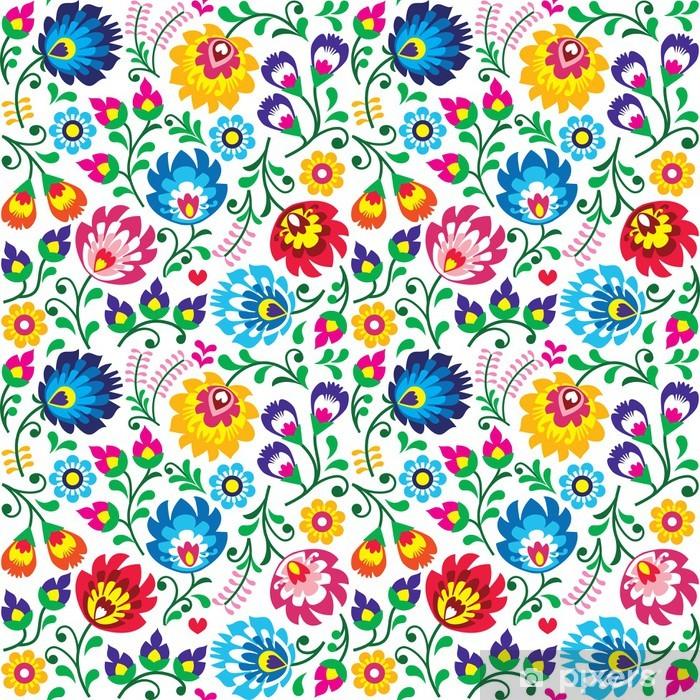 Seamless Polish folk art floral pattern Self-Adhesive Wall Mural - Flowers