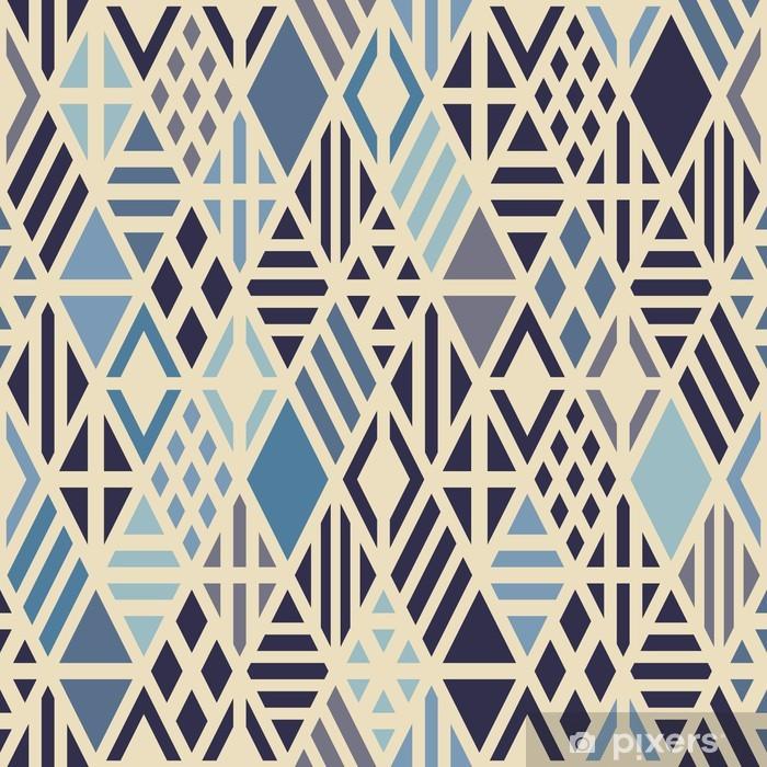 Papier peint vinyle Seamless géométrique avec des losanges de couleur bleue. - Styles