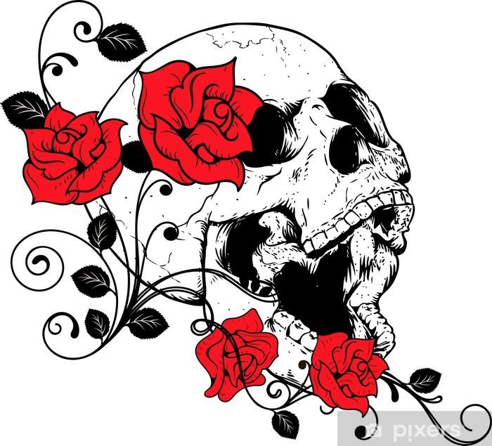 Sticker Pixerstick Teschio con rose - Art et création