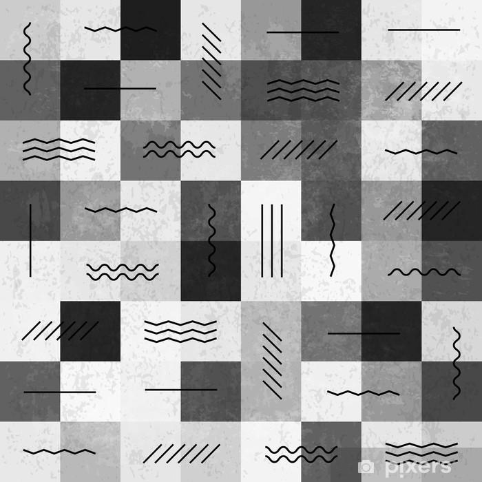 Retro monochrome vintage seamless pattern with lines Pixerstick Sticker - Canvas Prints Sold