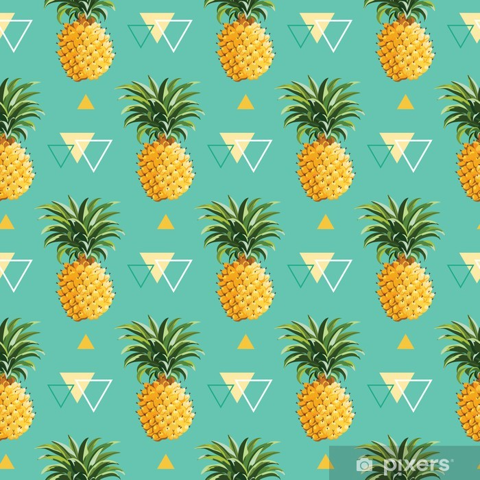 Geometric Pineapple Background - Seamless Pattern in vector Poster - Backgrounds
