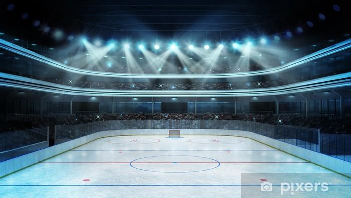 Pixerstick Sticker Hockey stadion met toeschouwers en een lege ijsbaan - iStaging