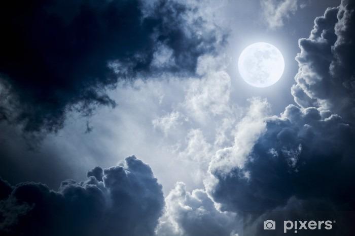Dramatisk Nighttime Clouds og Sky med Beautiful Full Blue Moon Vinyl fototapet - Grafiske Ressourcer