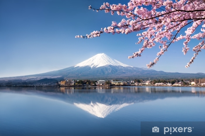Pixerstick Aufkleber Berg Fuji in Kawaguchiko Japan - Landschaften