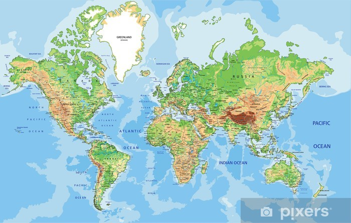Pixerstick Sticker Zeer gedetailleerde fysieke wereld kaart met de etikettering. - iStaging