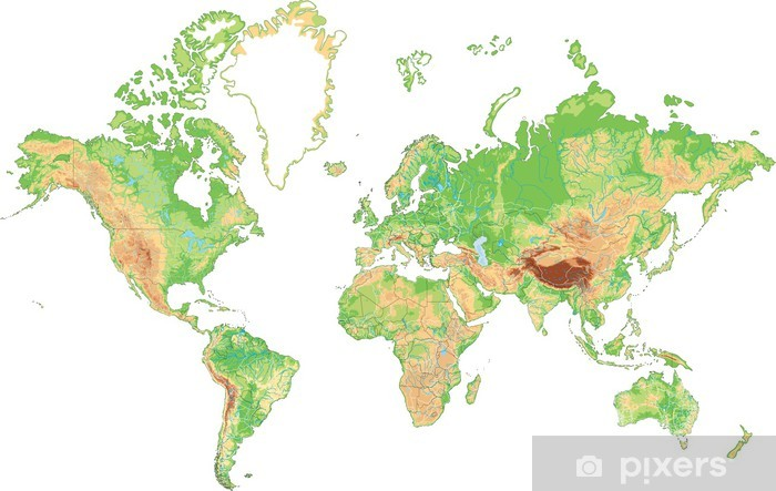 Cartina Mondiale Fisica.Adesivo Altamente Dettagliata Mappa Fisica Del Mondo Pixers Viviamo Per Il Cambiamento