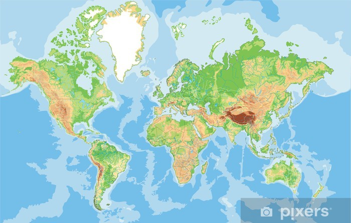 Highly Detailed Physical World Map Sticker Pixers We Live To