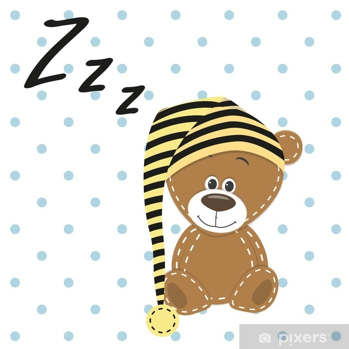 Sleeping Bear Pixerstick Sticker - Animals