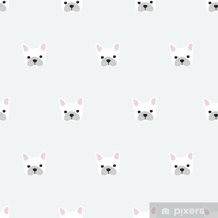 seamless french bulldog pattern Washable Wall Mural - Graphic Resources