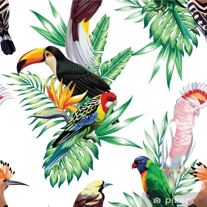 Adesivo Pixerstick Uccelli tropicali e foglie di palma modello - Animali