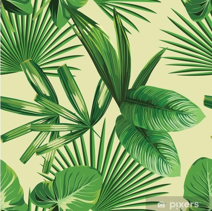 Fototapeta winylowa Tropikalnych liści palmowych bezszwowe tło - Rośliny i kwiaty