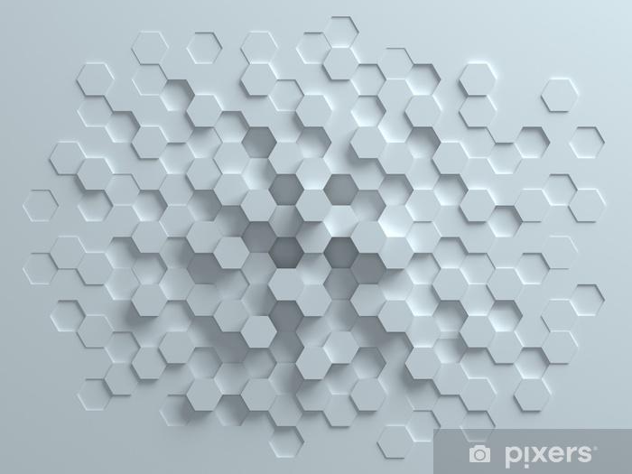 Pixerstick-klistremerke Sekskantet abstrakt 3d bakgrunn - Grafiske Ressurser