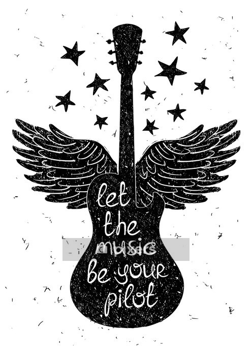 Hand drawn musical illustration with silhouettes of guitar. Wall Decal - Hobbies and Leisure