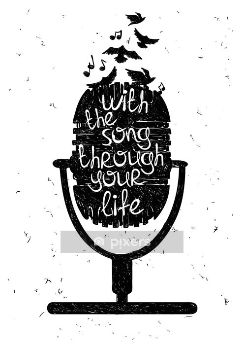 Hand drawn musical illustration with silhouette of microphone. Wall Decal - Hobbies and Leisure