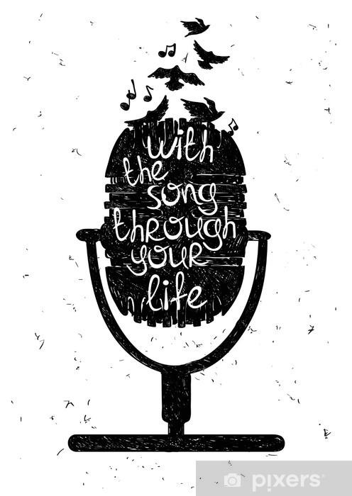 Fototapeta winylowa Ręcznie rysowane ilustracji muzycznej z sylwetką mikrofonu. - Hobby i rozrywka