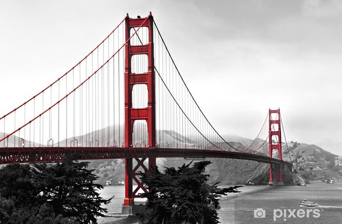 Golden Gate Bridge, red pop on a black and white background Pixerstick Sticker - Infrastructure