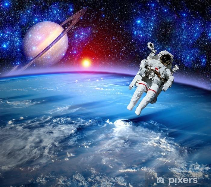 Vinyl-Fototapete Astronaut Spaceman Weltraum - Planeten