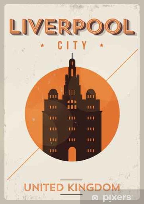 Vinyl-Fototapete Liverpool Stadt-Weinlese-Plakat-Entwurf - Gebäude und Architektur