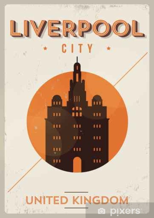 Liverpool City Vintage Poster Design Vinyl Wall Mural - Buildings and Architecture