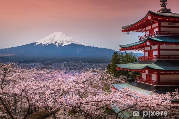 Fototapet av Vinyl Chureito Pagoda med sakura - Asien