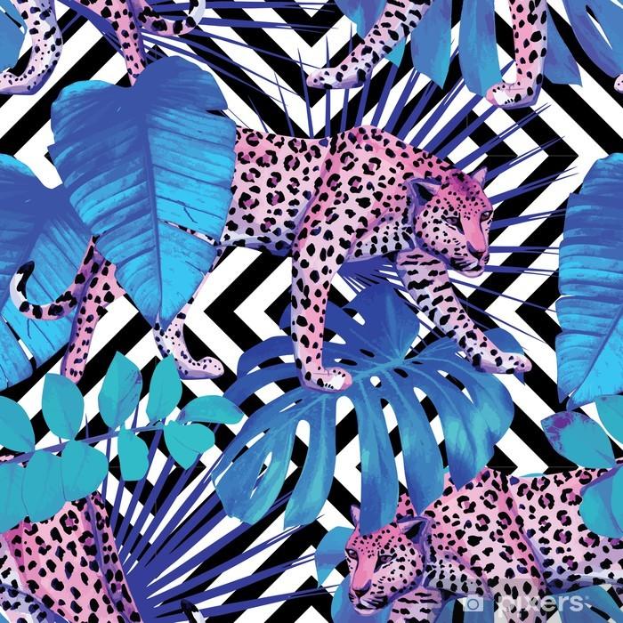 Sticker Pixerstick Léopard et plantes tropicales, fond géométrique - Mammifères