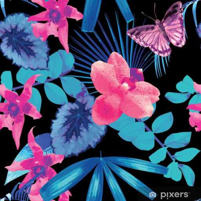 Fotomural Estándar Orquídeas, mariposas y hojas de palma patrón - Plantas y flores