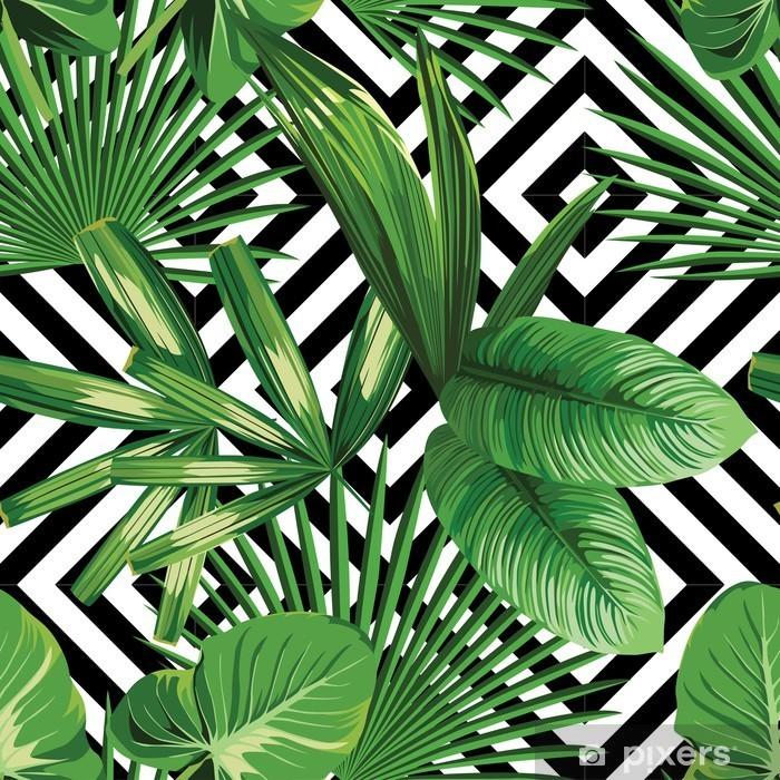 Sticker pour frigo Paume tropical feuilles modèle, fond géométrique - Canvas Prints Sold