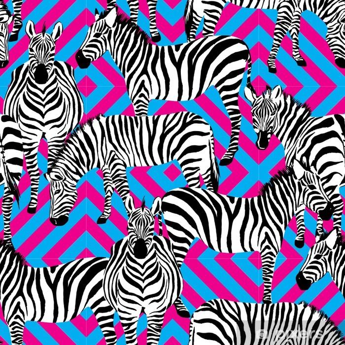 Poster Zebra Schwarz-Weiß-Muster, geometrische Hintergrund - Säugetiere