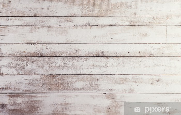 White wooden boards with texture as background Vinyl Wall Mural - Themes